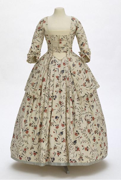 A Chintz dress c. 1770-1780. English tailoring. Fabric from the Cormandel Coast, India.